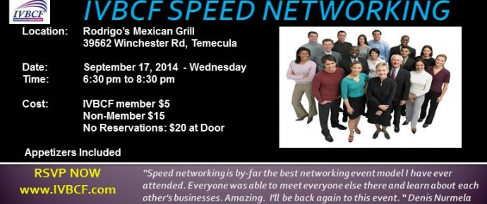 IVBCF Speed Networking 9-17-14